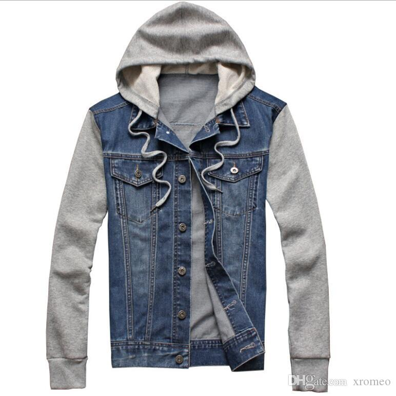 Men S Denim Jacket Patchwork Coat With Strawstring Cap Casual Denim