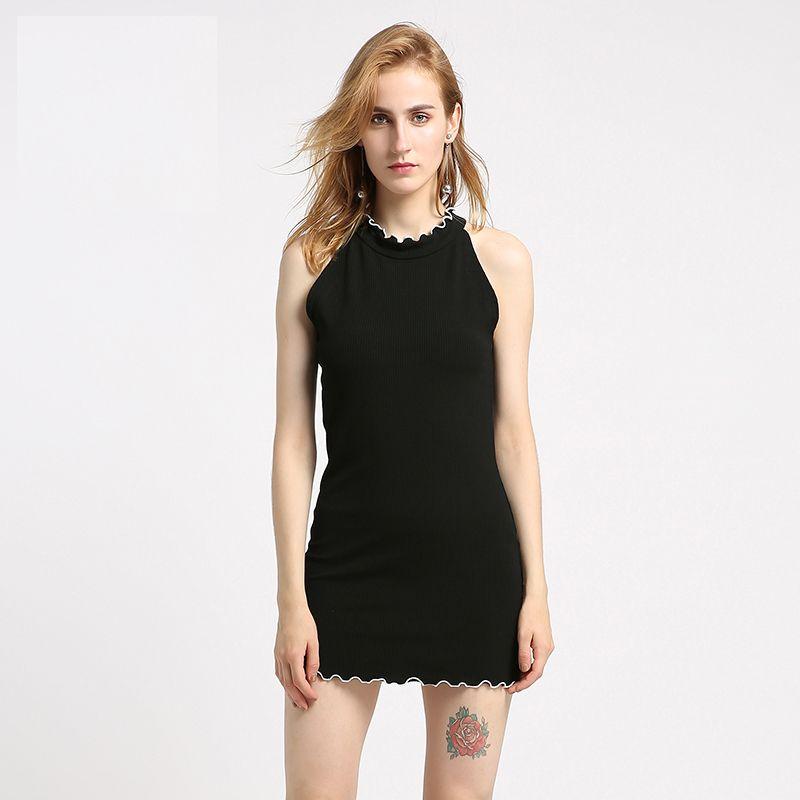 Plus Size Black Ruffle Tank Dress