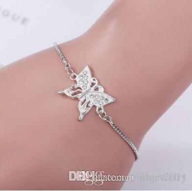 Rhinestone Butterfly Expandable Bracelets Girls/Ladies Stylish Rhinestoned Charm Alloy Silver Filled Link String Chain Bracelets