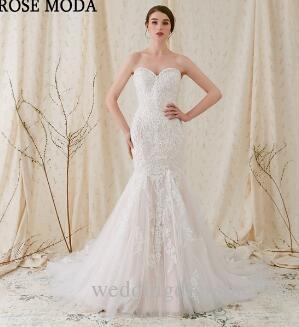 Rose Moda Sparkling Lace Mermaid Wedding Dress 2018 Pink Wedding ...