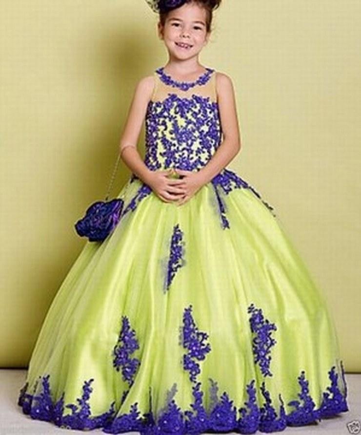 f0bcbc60dd20f Elegant Kids Gown Yellow Tulle Blue Lace Flower Girl Dresses For Wedding  Girl's Floor Length Child Party Birthday Dresses ytz247
