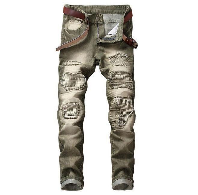 5 Colori Rock Hiphop Distressed Stretto uomo jeans Zipper Fly punk streetwear Biker moto demin pantaloni uomo Pantaloni da jogging