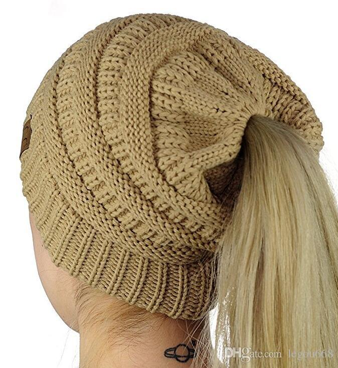 Knit Beanie Hat for Woman Pony Tail CC Hat Super Soft Warm with Hole Classic Design Cap GA100