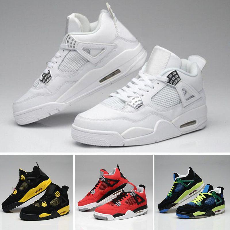 9c6d224b224 Compre Nike Air Jordan 4 Aj4 Retro Al Por Mayor De 4 Cemento Blanco Fuego  Bred IV Roja 4s Calzado Hombres Mujeres Baloncesto Zapatillas De Deporte  Los ...
