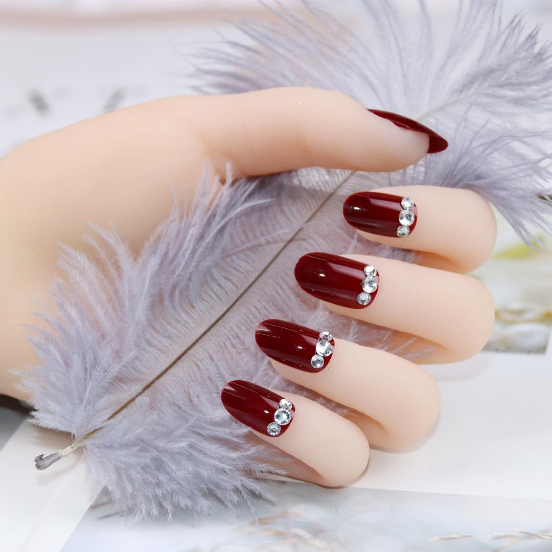 Wine Red Round Head Drill Nail High End Fashion Lasting Fake Nails