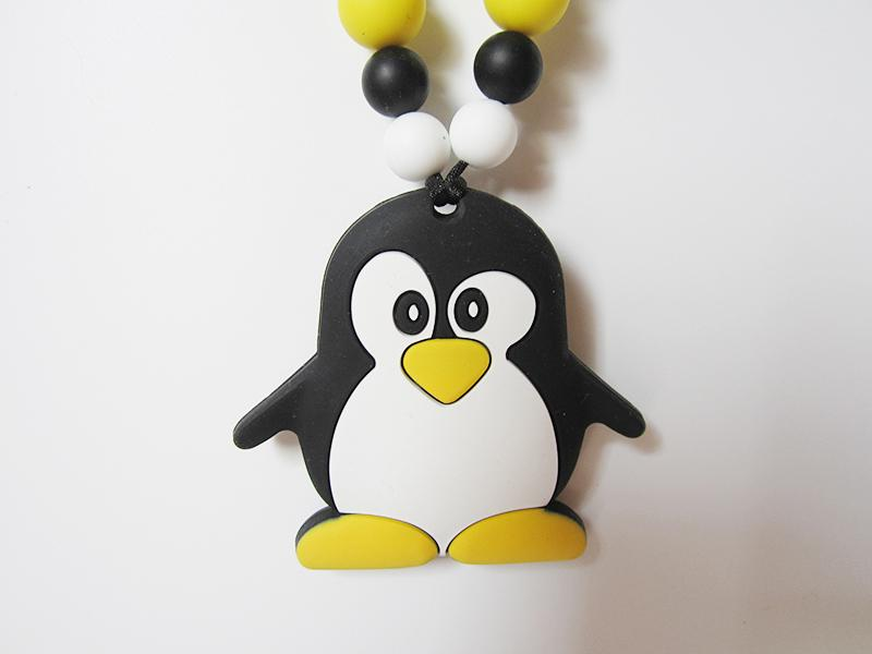 Penguin Silicone Nursing Teething Necklace Baby Teething Toy Penguin Pendant Chain Safe BPA Free Silicone Chew Beads Sensory Jewelry
