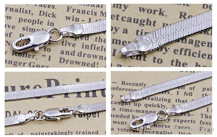 Cadena de serpiente de plata 925 Mujeres sexy Hombres Cadena Gargantilla Collar Accesorios Joyas Color: Plata