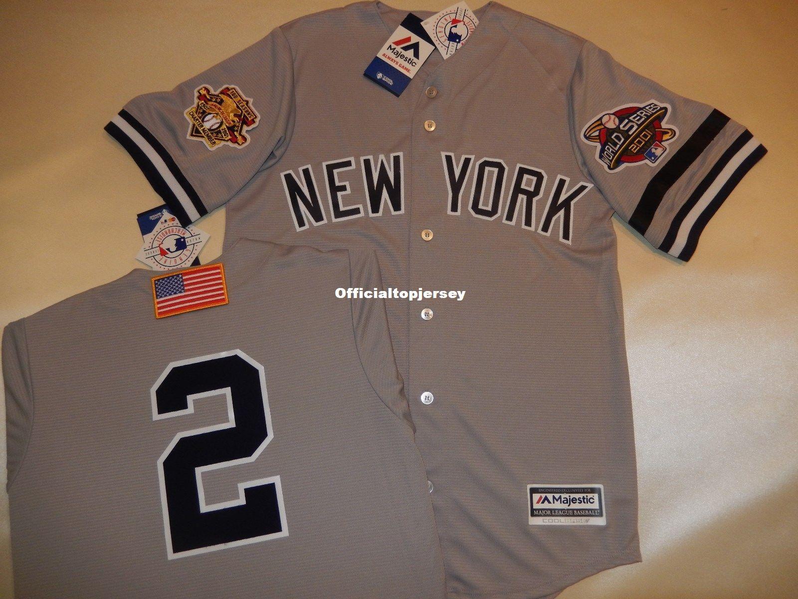 808c5390f45 Cheap Custom New York  2 DEREK JETER 2001 WORLD SERIES Baseball ...