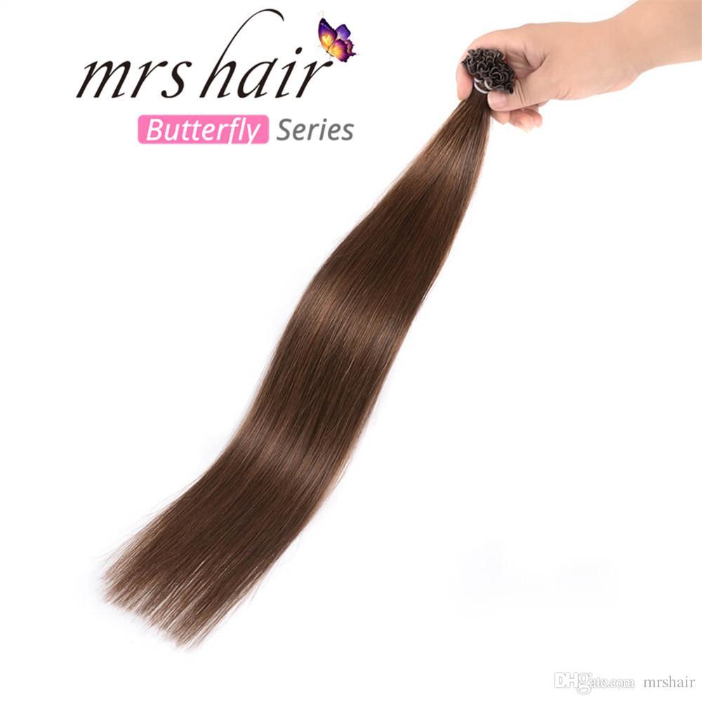 10gpc U Tip Pre Bonded Hair Extensions Dark Brown 4 Remy Hair