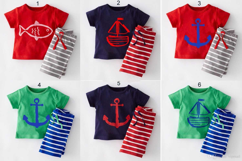 3ebd001b8 2018 Baby Clothes Boys Cartoon anchor fish Striped Casual Suits 2pcs Sailboat  Sets T-shirt+Pants 2pcs suit Children Clothes 6 colors