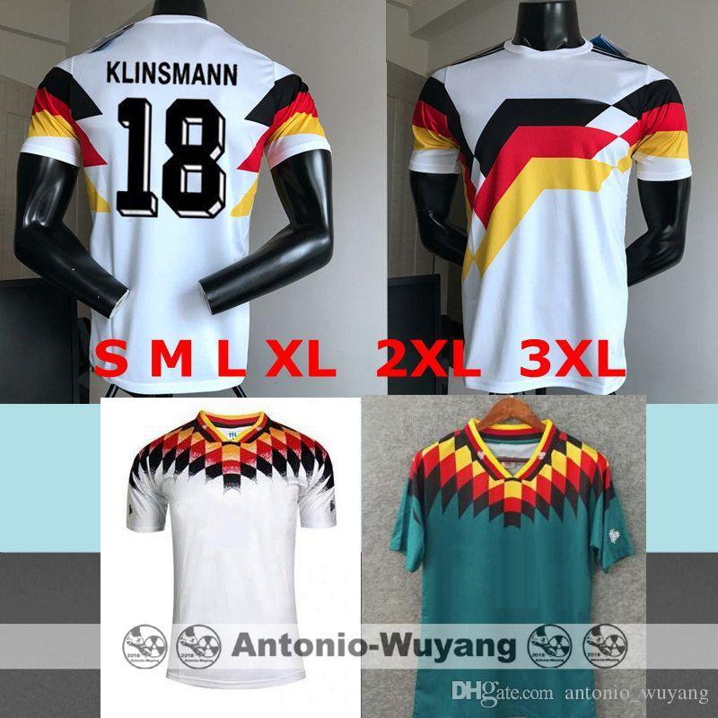 Compre S M L XL 1194 1990 Alemanha RETRO KLINSMANN 18 Matthäus 10 Camisas  De Futebol Em Casa Branco B.WAYNE 7 Camisa De Futebol Camisa De  Antonio wuyang db7042f208a08