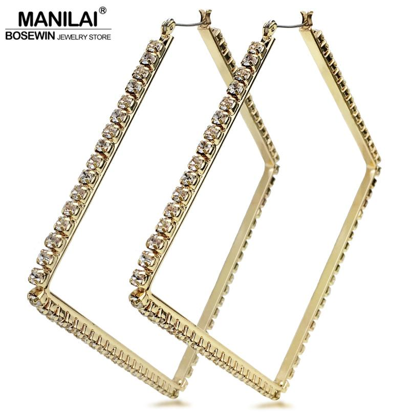 2019 Hoop MANILAI Luxury 80mm Square Metal Big Hoop Statement Jewelry  Rhinestones Earrings For Women Wedding Jewelry Brincos 2018 From  Ornaments store 6d13627a954e