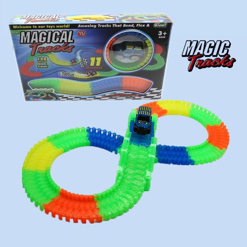 efe970951009 Magical Glow Racing Track Set Track Car Flexible Glowing Tracks Toy 128 150  220 360 Race With Gifts Box Electronic Pet Toy From The 90s Electronic Pets  From ...