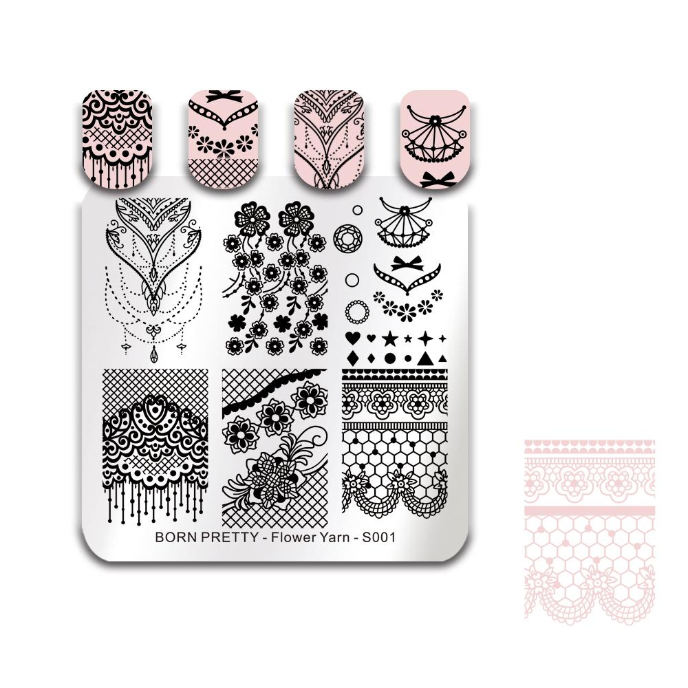 Born Pretty Flower Lace Stamping Template Bride Nail Art Stamp Plate ...