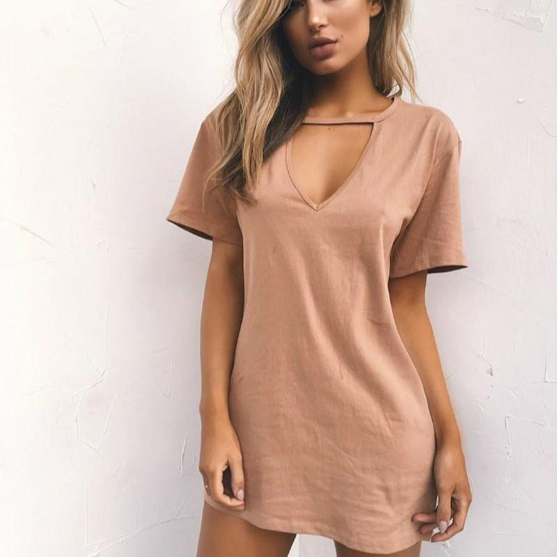 2019 Summer Dresses Female Solid Casual Loose Dress Sexy V Neck Cotton Women  A Line Casual Mini Vestidos Plus Size 3XL White Summer Dresses Dress Pants  From ... 125c28d2853c