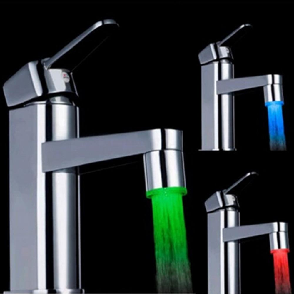 LED Water Faucet Stream Light Changing Glow Shower Stream Tap Head ...