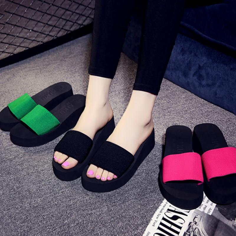 5651ef4238229 2018 High Heel Slippers For Women Brand Black EVA Ladies Shoes Summer Woman  Shoes Platform Bath Slippers Wedge Beach Flip Flops Gold Shoes Girls Boots  From ...