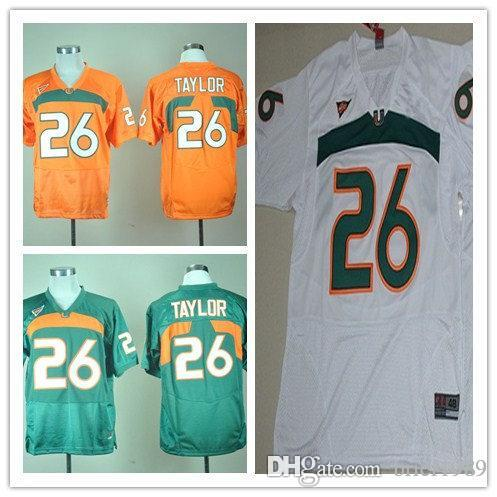 ... 2018 2018 men miami hurricanes 26 sean taylor green white orange mens  college baseball jerseys size 1c5afdd2f