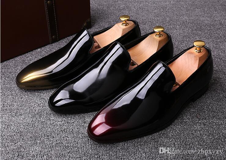 Neues Mensschwarz Karree Entwerfermarke Lackleder Geschäftshochzeitskleid Schuhe, Mode für Männer oxfords 37-44 DHH1