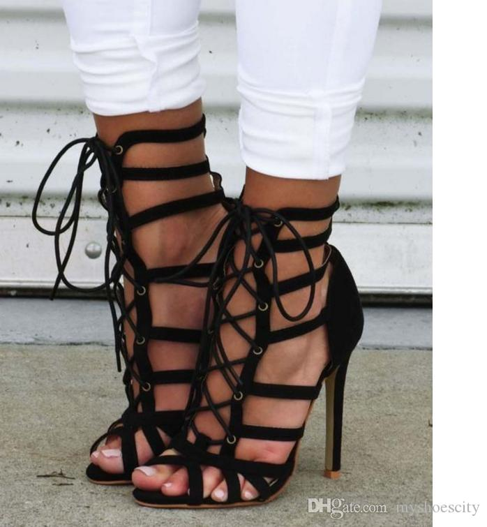 3453e50b9517ff Rome Style Sexy High Heel Black T Strappy Gladiator Sandals Hollow Out Lace  Up Shoes 2018 Size 35 To 40 High Heels Heels From Myshoescity