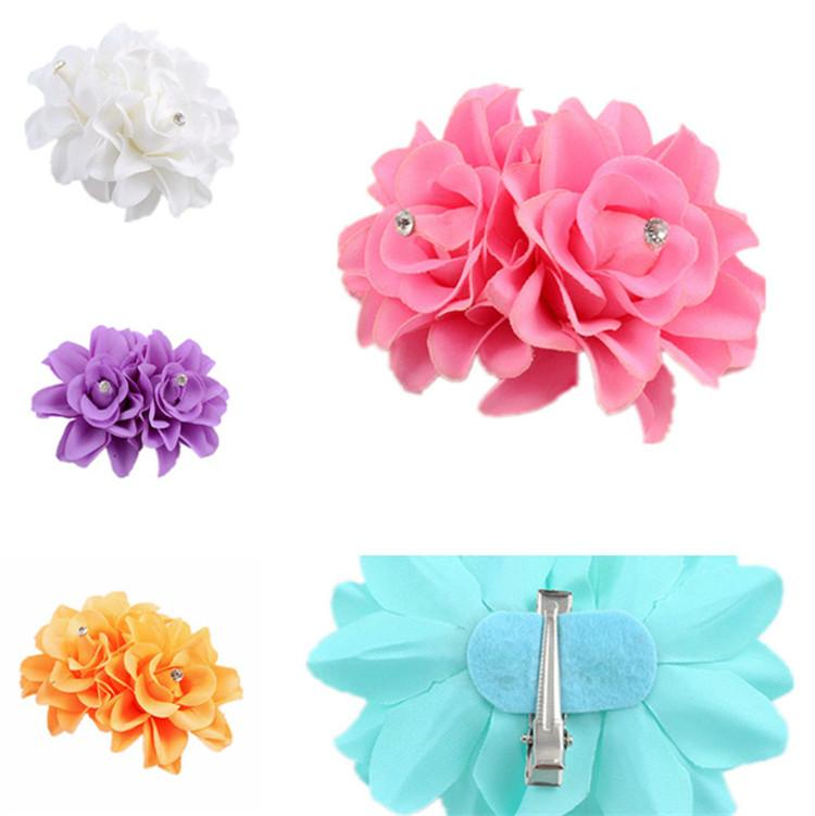 edb3836af83969 Double Rose Ribbon Bows with Clip,solid Color Bows Clip,baby Hair ...