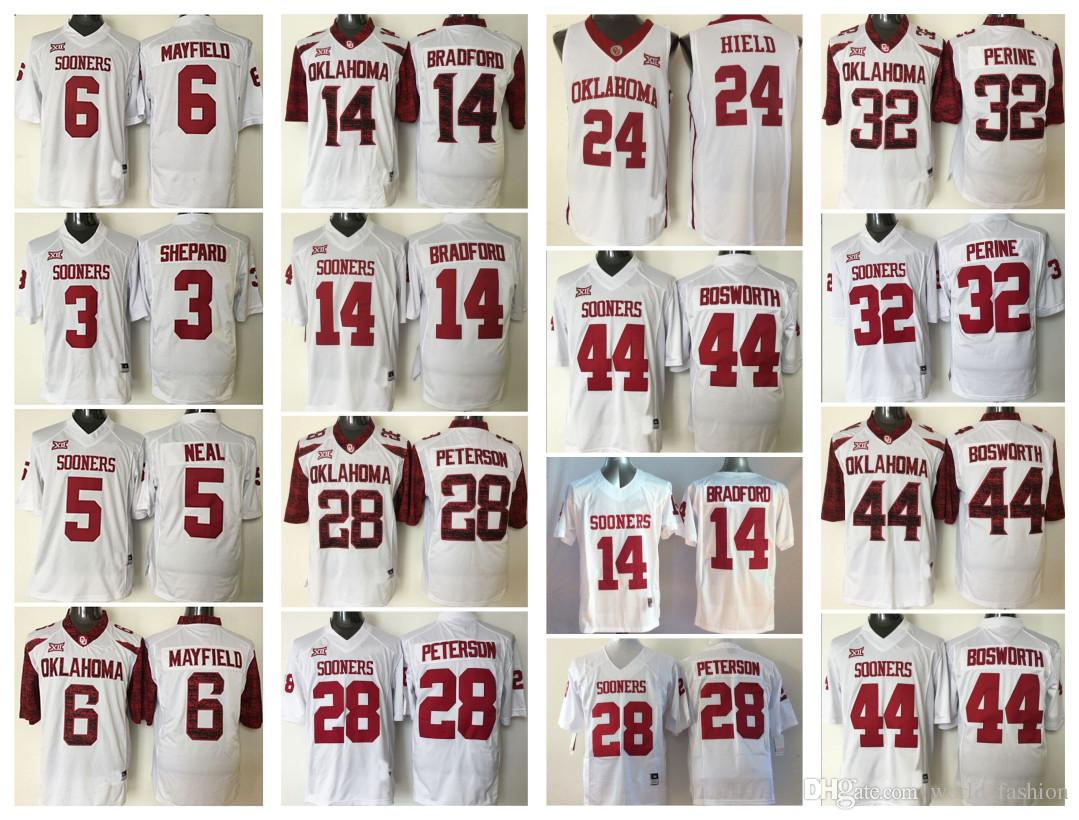 0ead23f9e9a Oklahoma Sooners Men White Jersey 44 Brian Bosworth 6 Baker Mayfield ...