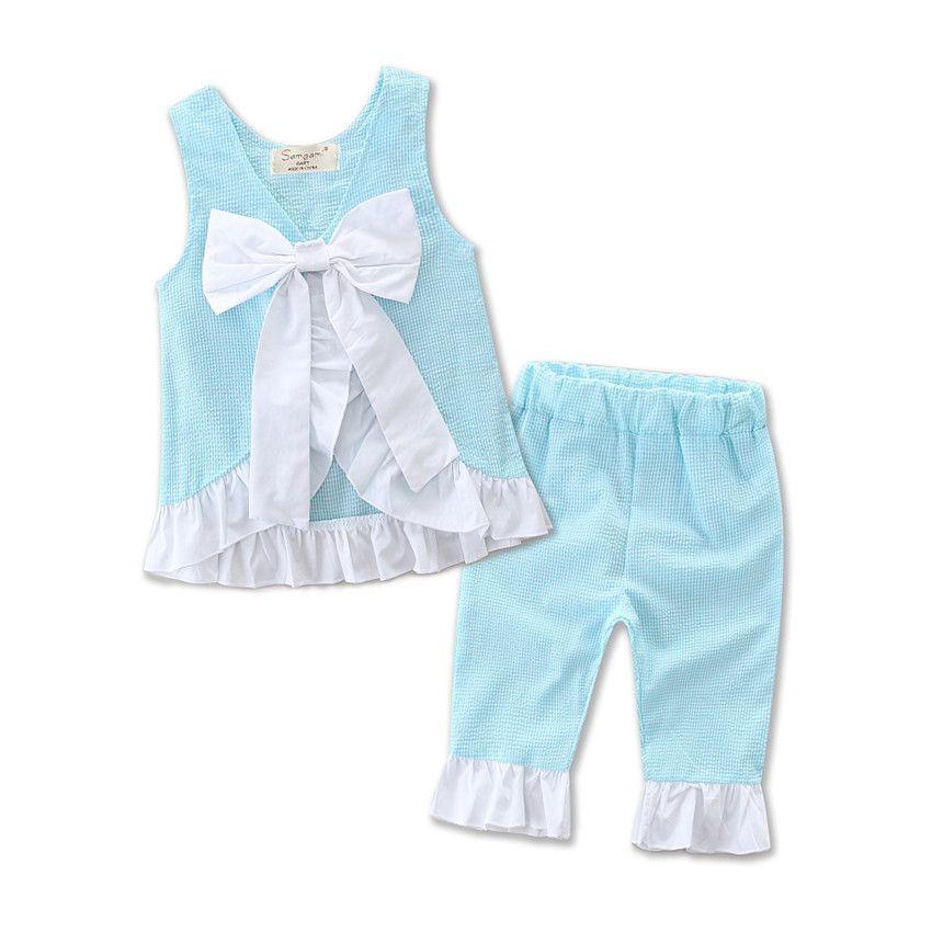 Filles Lotus Shirt Pantalons Costumes Lotus Feuilles Edge Grilles Grand Arc Sans Manches D'été Chemises Pantalons 1-7T