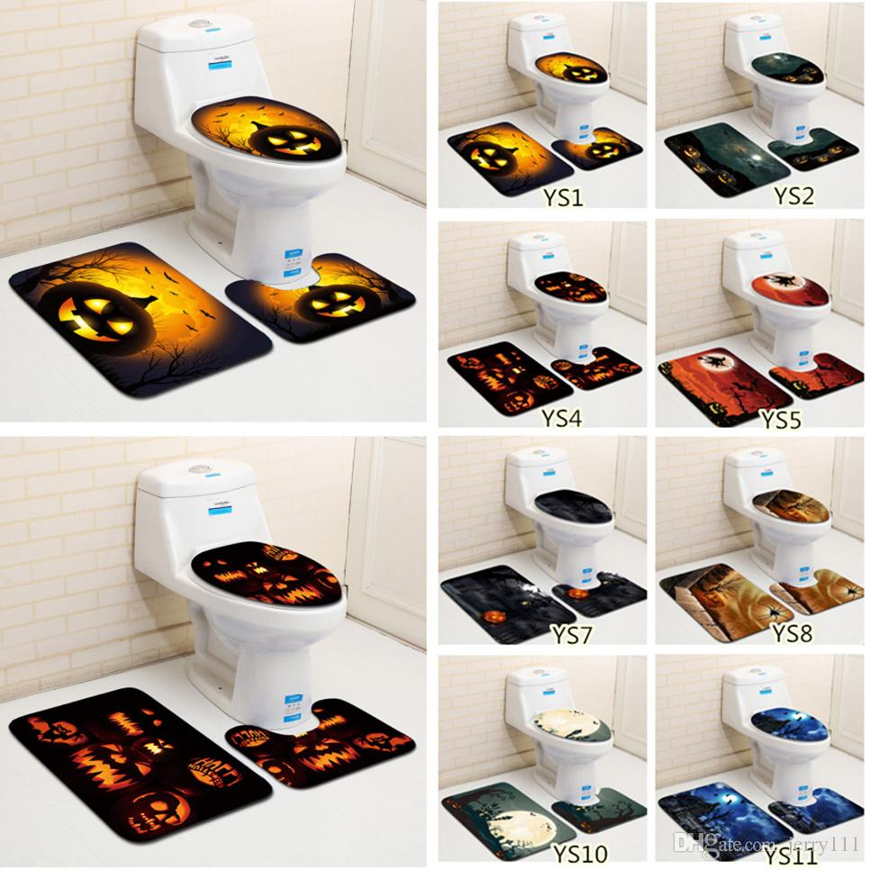 2018 Halloween Pumpkin Toilet Mat / Set Bathroom Carpet Toilet Lid ...