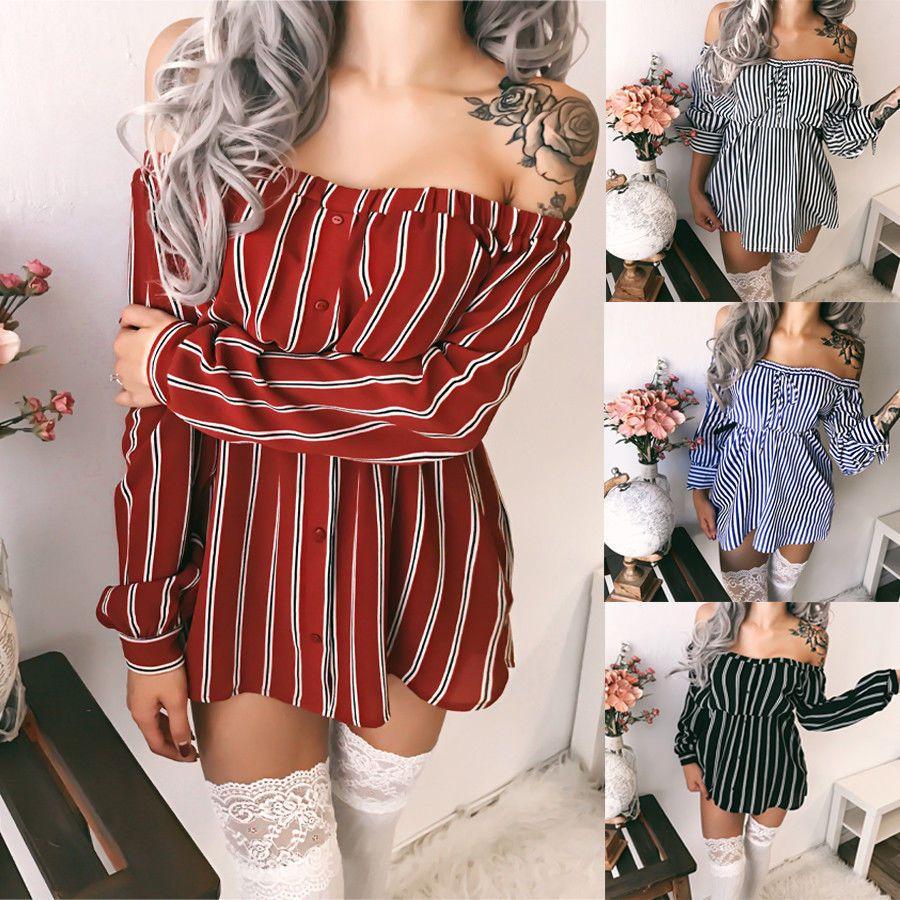 6443069e270 Satrwee Women Summer Slim Dress Fashion Stripe Beach Casual Dresses Plus  Size Women Slash Neck Strapless Clothing Dresses Dress Styles For Women  Sundresses ...