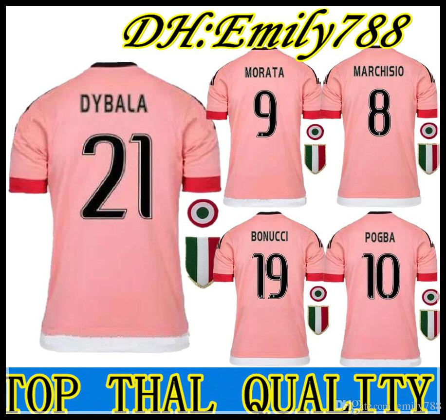 free shipping d7a8d 570e0 2016 BEST QUALITY Italy POGBA JUVENTUS SOCCER JERSEYS 15 16 DYBALA  MANEZUKIC MORATA HIGUAIN MARCHISIO BUFFON Pink Blue SOCCER FOOBALL SHIRT