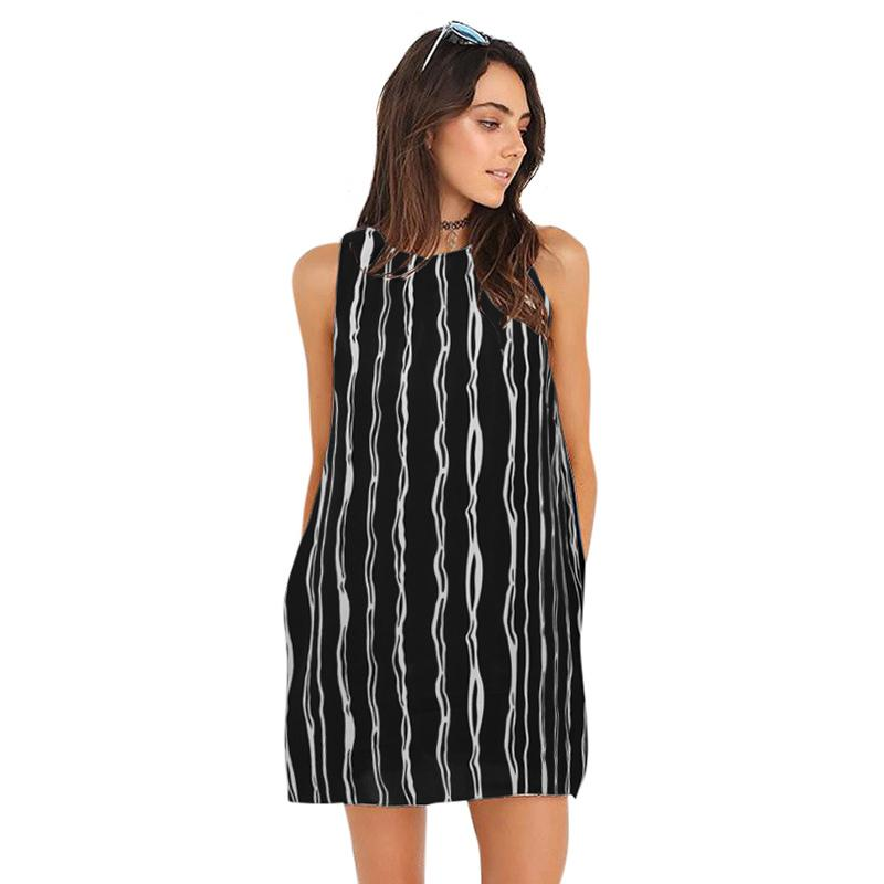 a1207bf6b5319 Fashion Women Chiffon Striped Mini Dress Sleeveless O Neck Summer Casual  Shift Dress 4XL 5XL Plus Size Short Dress Robe Femme Evening Dress Sweater  Dress ...