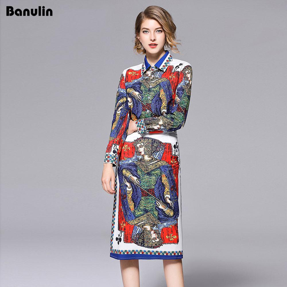 f330d573f4514 Banulin New 2018 Fashion Runway Designer Suit Set Women's Long sleeve  Playing card Queen Print Blouse and Skirt Two Piece Set