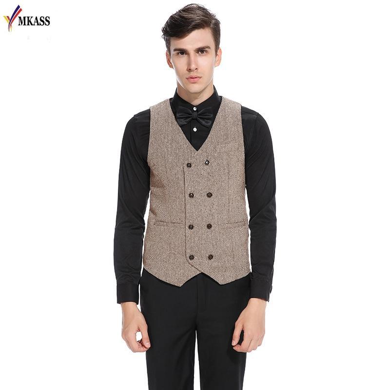 2019 2017 Men Vests Suit Double Breasted Mens Wedding Vest Classic