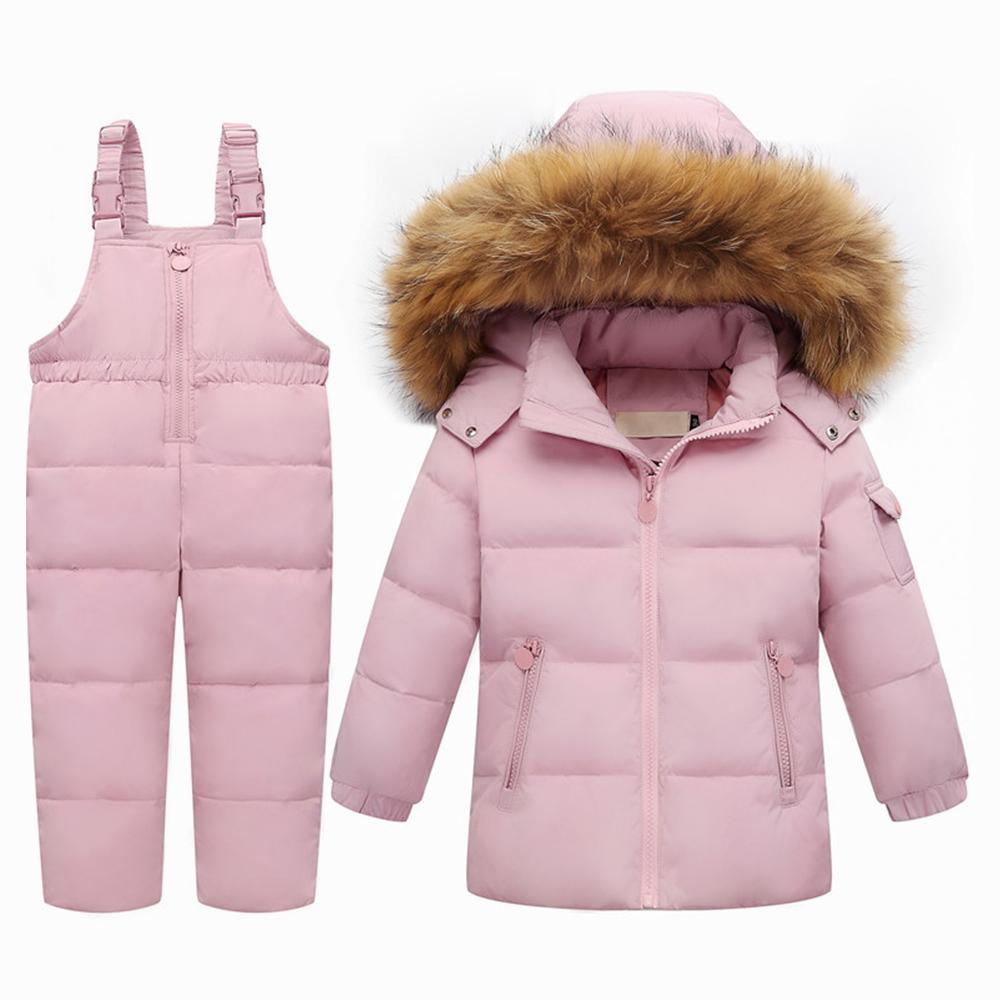 5d2c3e82e715 Winter Children Clothing Set for Boy Down Cotton Parka Jacket Coat  +Overalls Warm Windproof Snowsuit Toddler Kid Ski Suit Jacket. June Sales