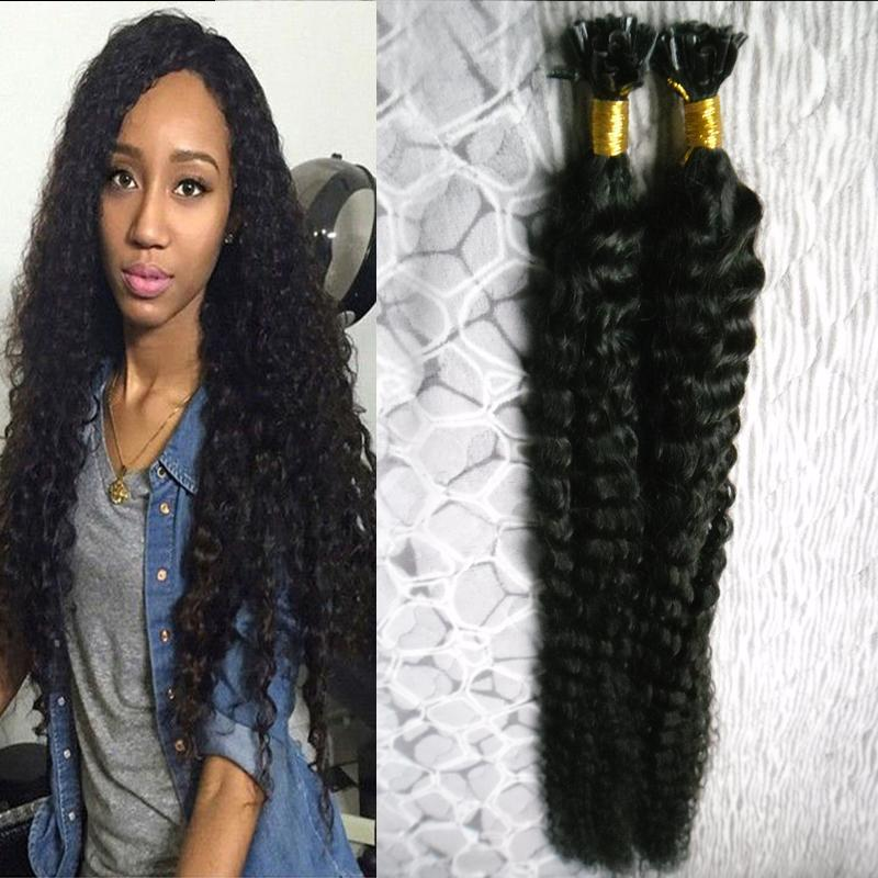 Keratin Stick U Tip Hair Extensions Human 100g/strands fusion keratin hair extension Deep Wave Pre Bonded Double Drawn Remy Hair Extension