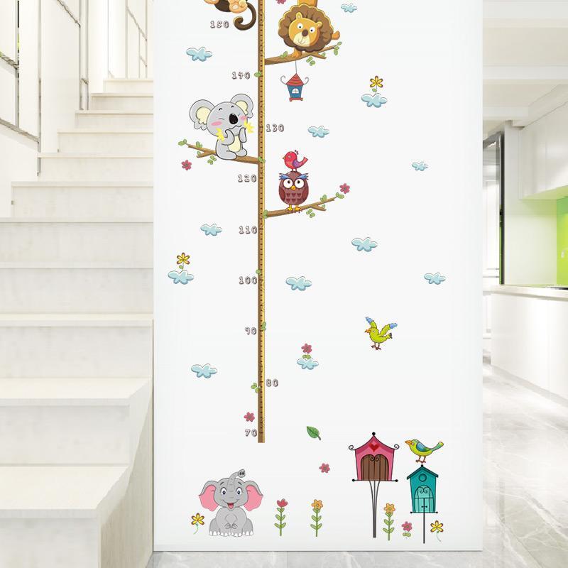 Foresta Animali Leone Scimmia Gufo Albero di Casa Albero Altezza Misura Wall Sticker Bambini Camere Poster Crescita Grafico Home Decor Decal
