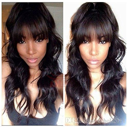 Wet and wavy Malaysian Virgin Human Hair Glueless Full lace Wig Front Lace Wig 130%density With Straight Bangs DHL
