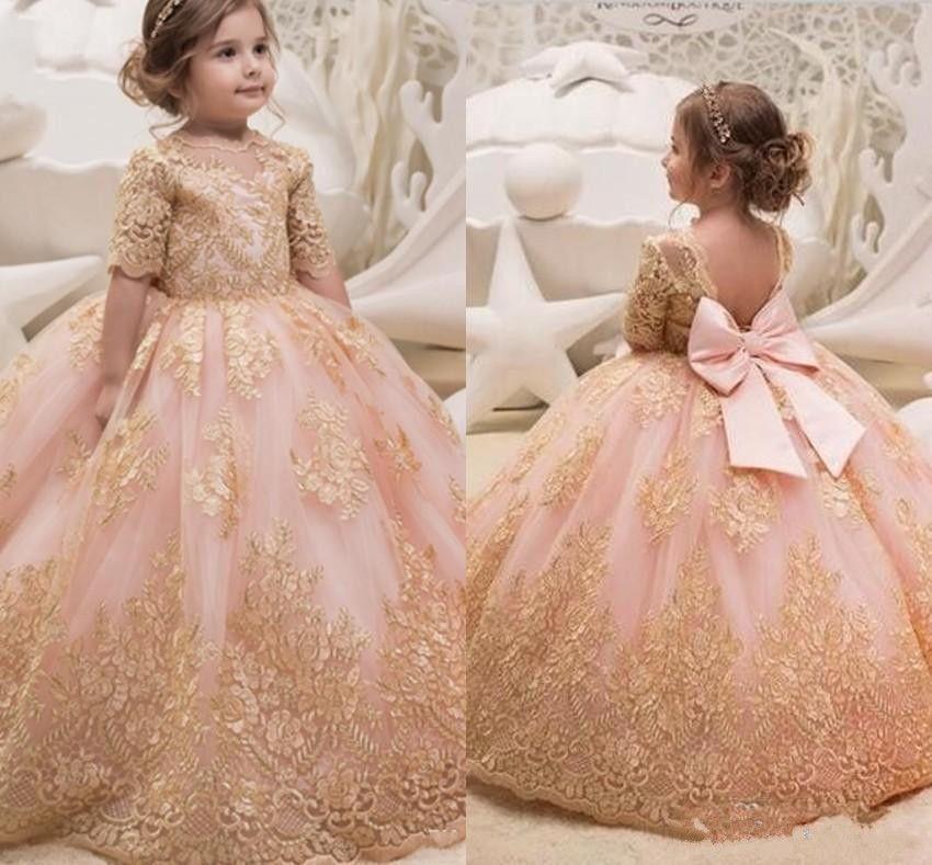 Vestidos para bodas de oro para ninas