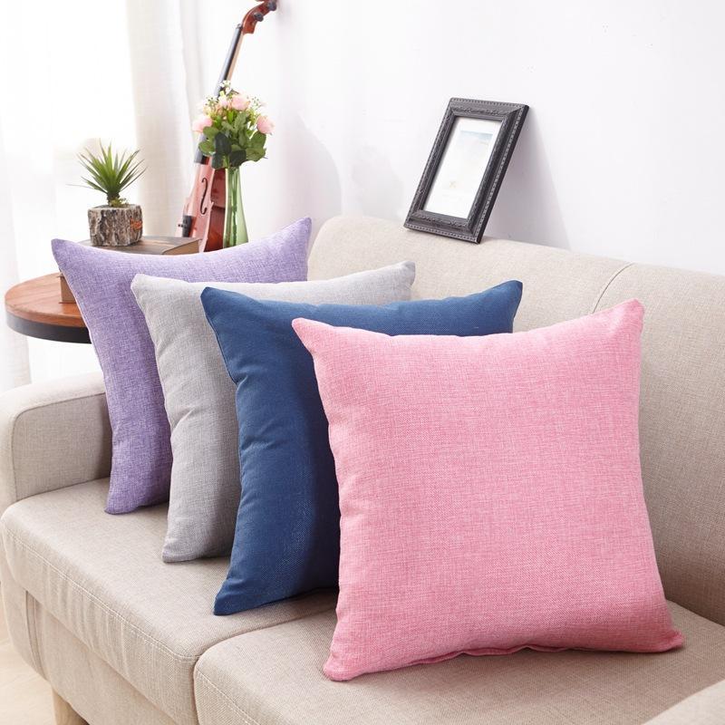 cb70869e2fc55e Cor pura de linho travesseiro sofá almofada travesseiro dorminhoco carro de  volta do escritório Decorativa Almofadas capas de almofadas fronha