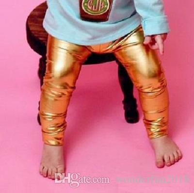 5a00d0e8cc6e3 Little Girls' Metallic Color Shiny Stretch Leggings Baby Girls Pants Faux  Leather Leggings For Toddlers