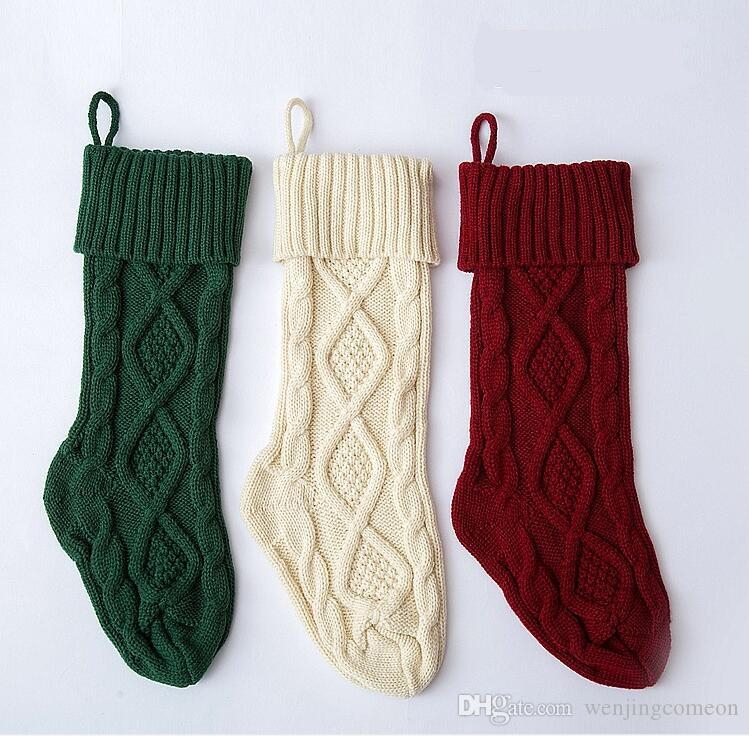 knitted christmas stockings decoration christmas gift bag fireplace decoration green red white christmas sock 46cm 37cm anchor dress socks socks free from - Red And Green Christmas Stockings