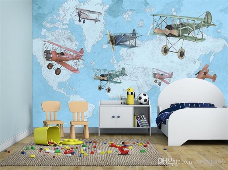 Hand-painting Vintage Airplane Map 3d Wall Photo Cartoon Mural Wallpaper for Baby Kid Room Large 3d Wall Mural Papel