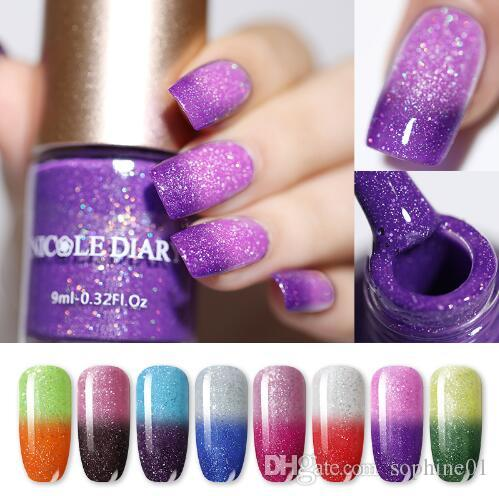 New 9ml Thermal Nail Polish Glitter Temperature Color Changing Water ...