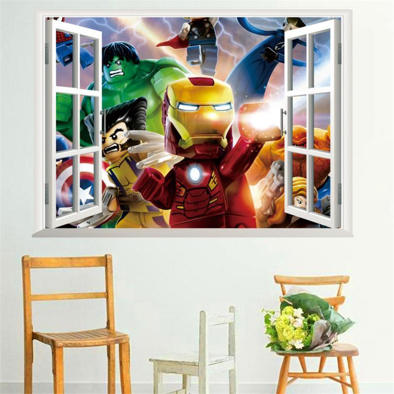 Parfait Acheter Iron Man Film Robot Stickers Muraux Vue De La Fenêtre De Bande  Dessinée Héros PVC Stickers Muraux Amovible Art Affiche Pour Enfants Room  Decor ...