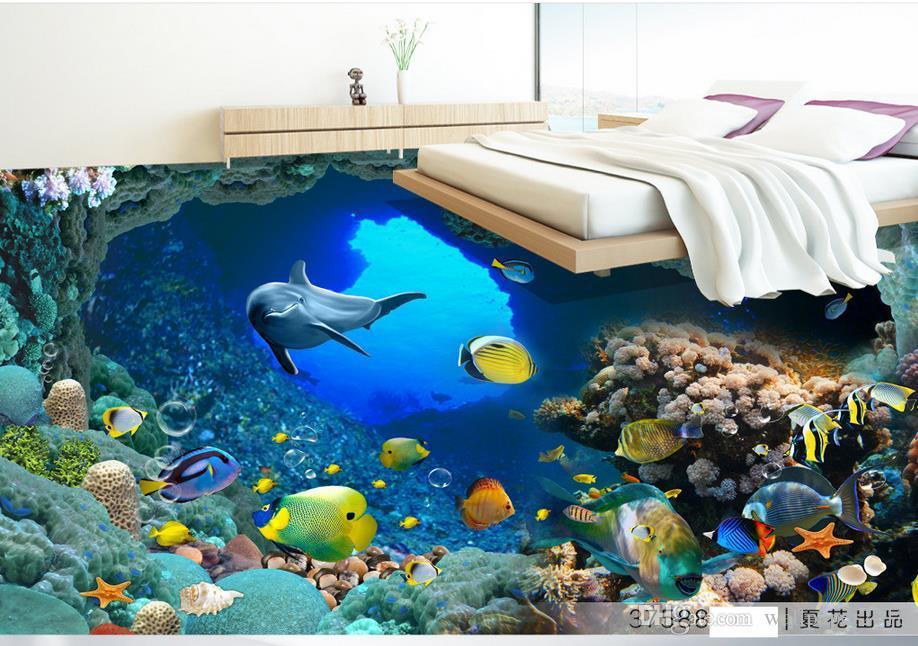 modern wallpaper for living room Underwater World Dolphin 3D floor waterproof PVC Wallpaper