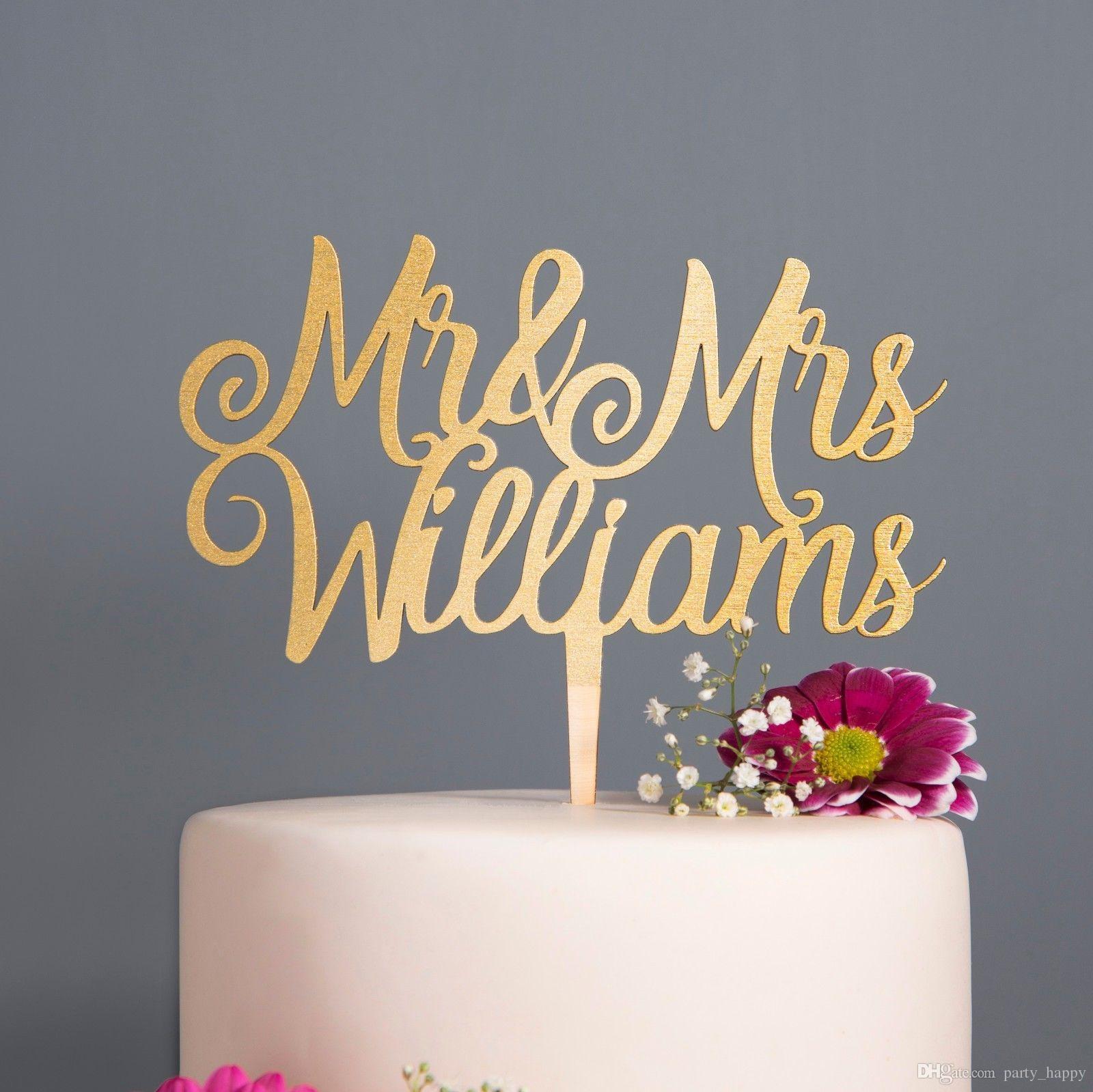 Grosshandel Personalisierte Kalligraphie Herr Frau Hochzeitstorte