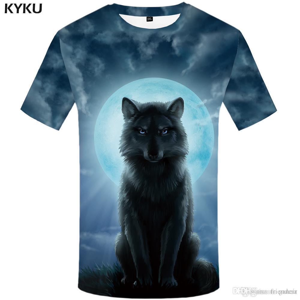 0ae0d3101a7d KYKU Brand Wolf Shirt Moon T Shirts Moonlight T Shirt Men 3d T Shirt Animal  Sexy Male Shirts Japanese Mens Clothes Mens Tee Cotton Shirts White T Shirts  ...