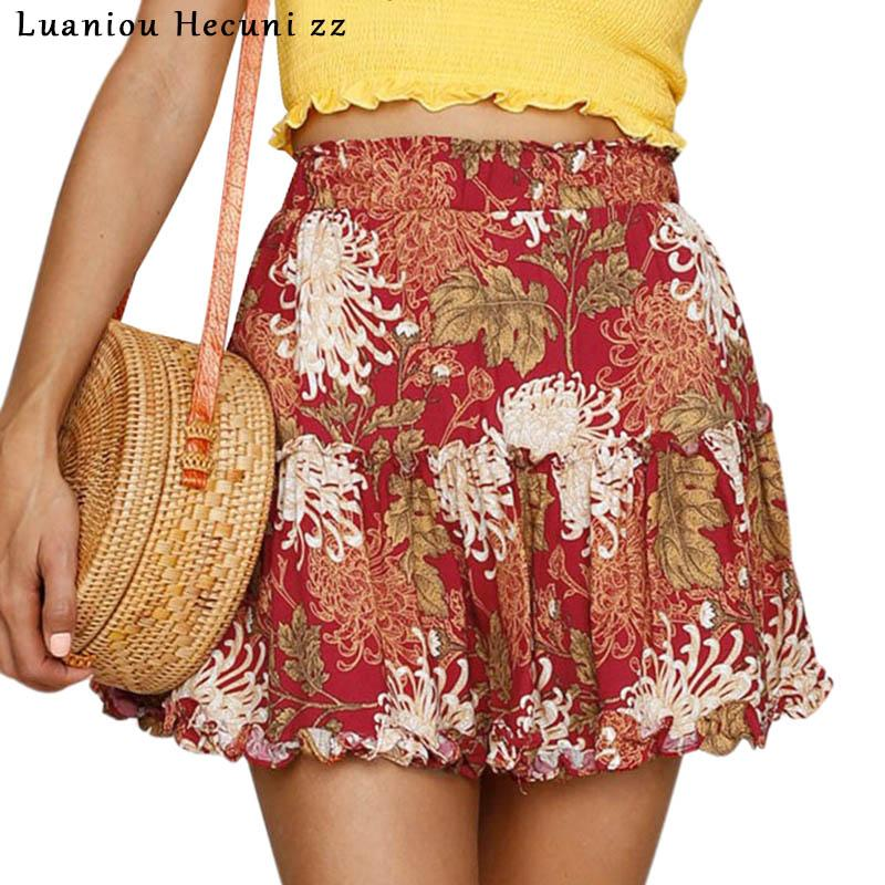 74865e4a85 2019 Chu Ni Boho Floral Print Mini Skirt Elastic Waist Tiered Ruffle ...