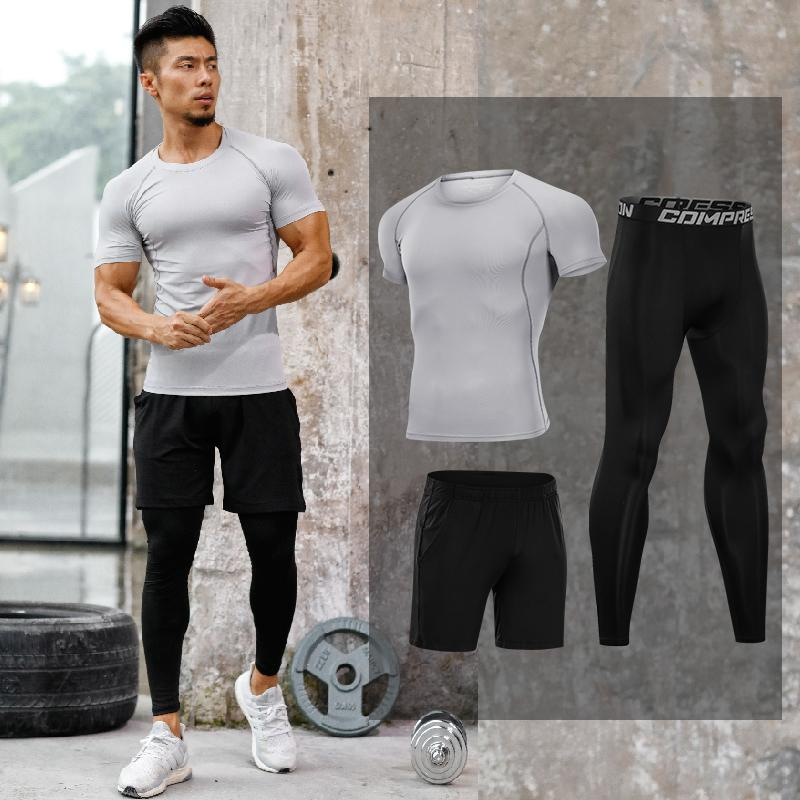 3b2209caf Men's Workout Tights Quick Dry Compression Runnning Sport Suits ...