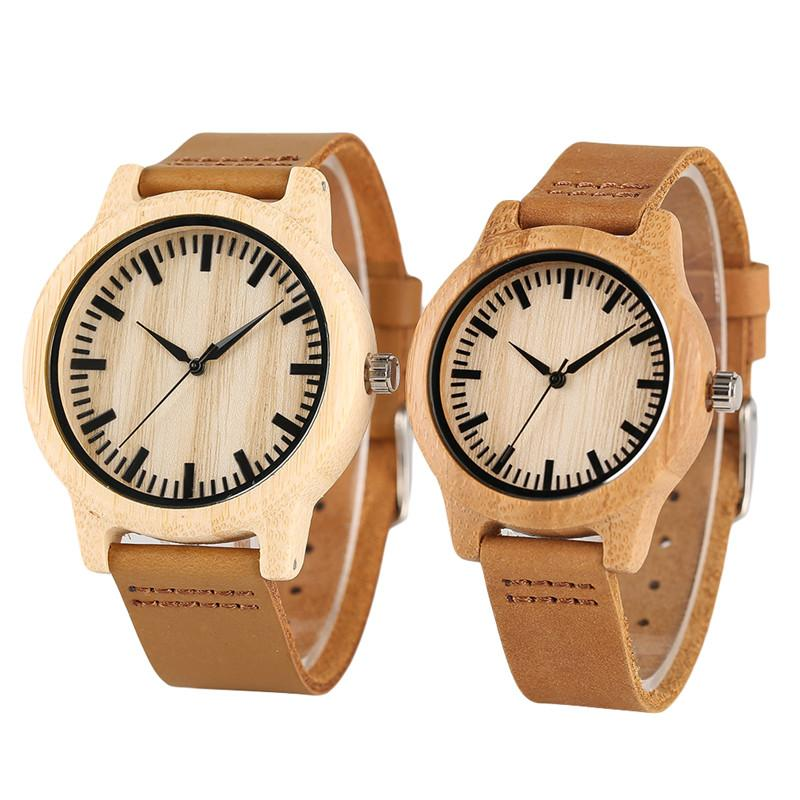 full bamboo wooden wood women handmade quartz novel watches men wrist deals creative products fashion minimalist bangle male natural